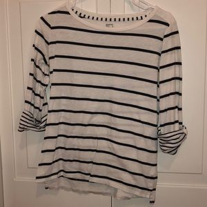 Navy and white stripe top